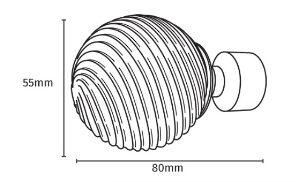 25-28mm Pristine Satin Silver Swirl Ball Extendable Metal Pole Set
